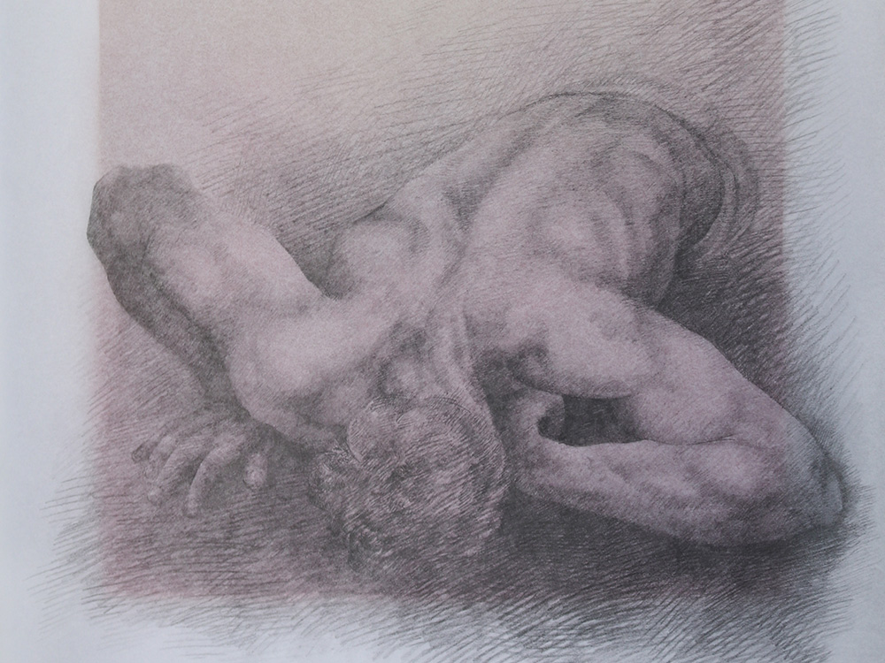 charcoal drawing of figure