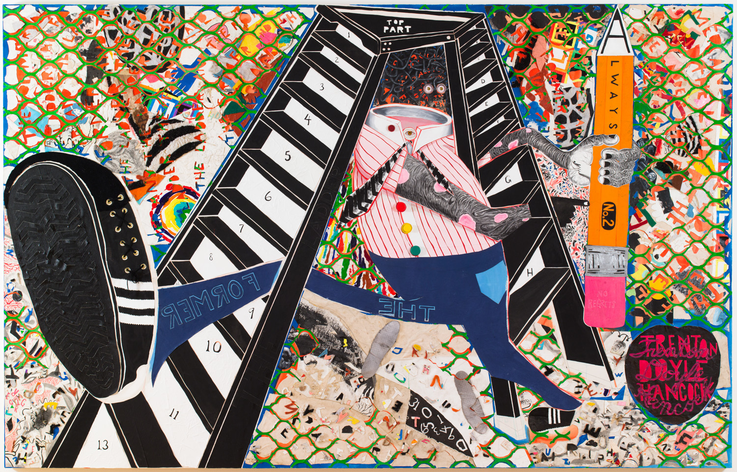 colorful painting with interlacing elements and characters surrounding large disembodied legs with leaping foot