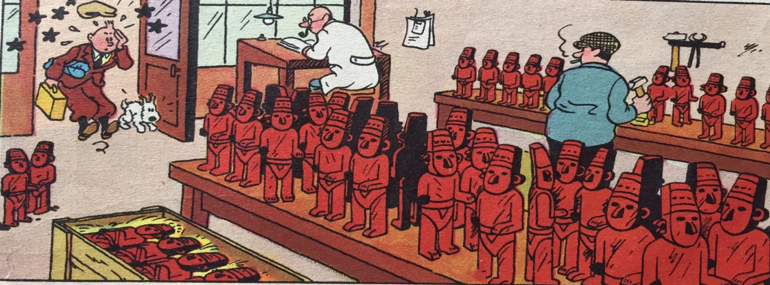 cartoonish illustration of a workshop where multiple copies of famous sculptures are being manufactured