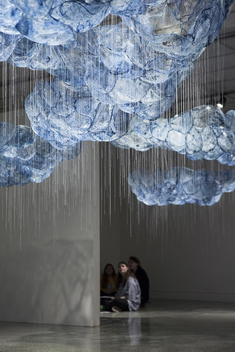 After All/Mending The Sky, 2017-2018, silk, cyanotype, needles, thread, wire, hardware, dimensions variable, site-responsive installation from acclaimed artist Beili Liu who serves as program director for freshman Core Program in Studio Art