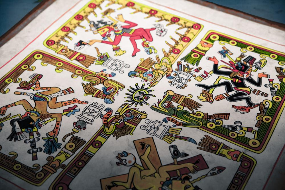 aztec codex image of colorful folio