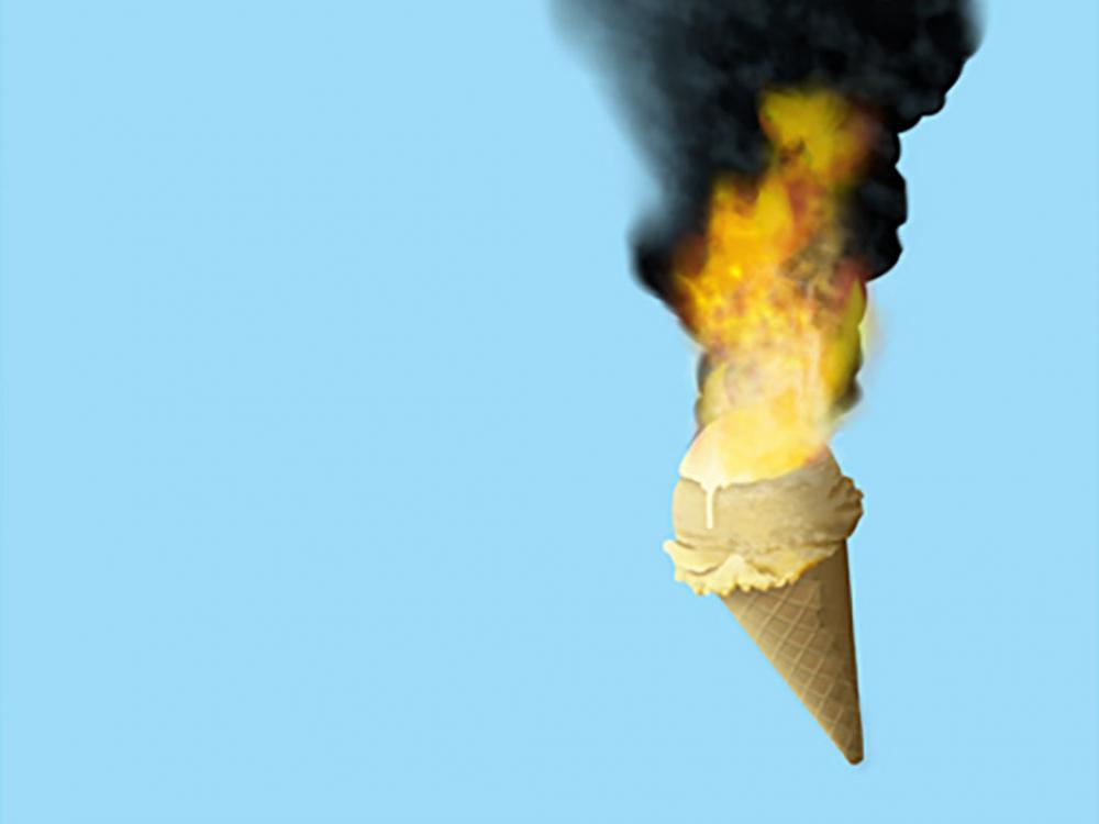ice cream cone on fire
