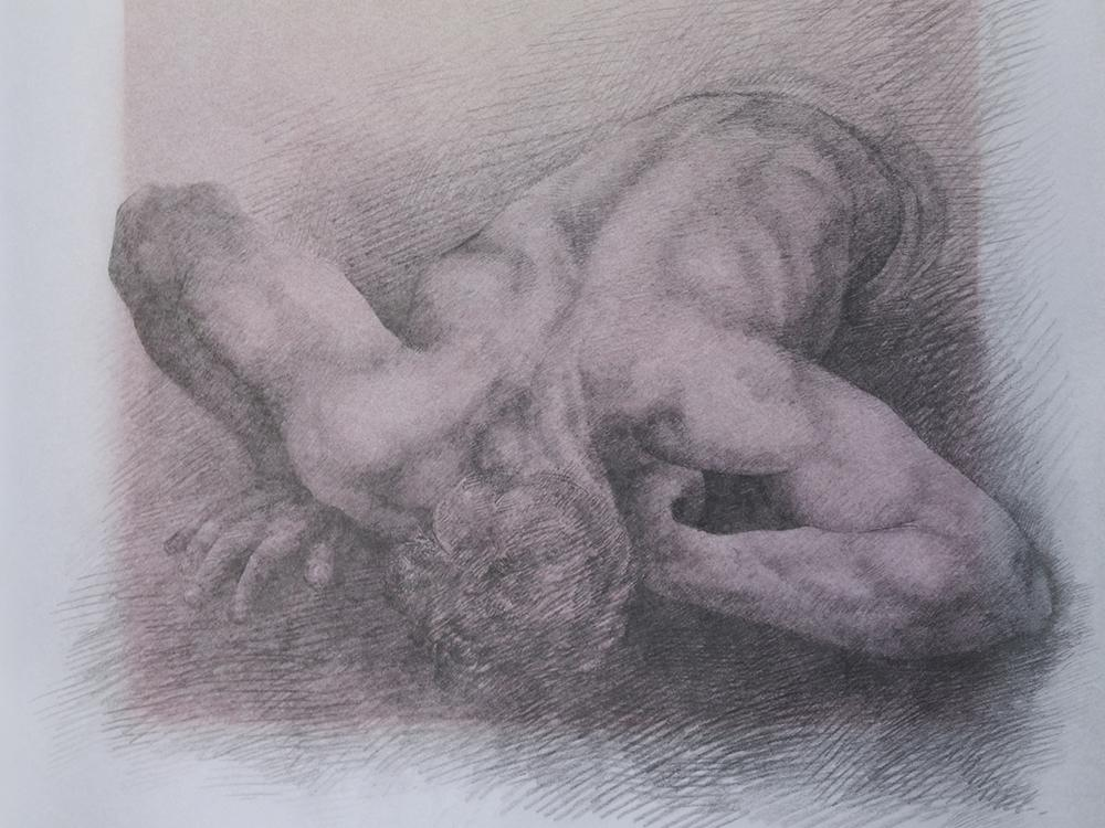 charcoal drawing of human figure