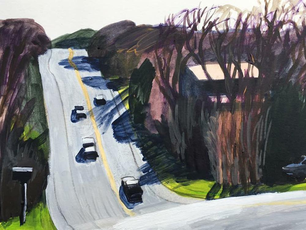 painting of road in rolling hills of Austin