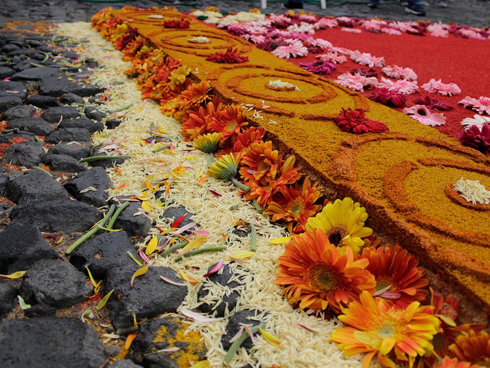 colored sawdust and flowers in traditional alfombra