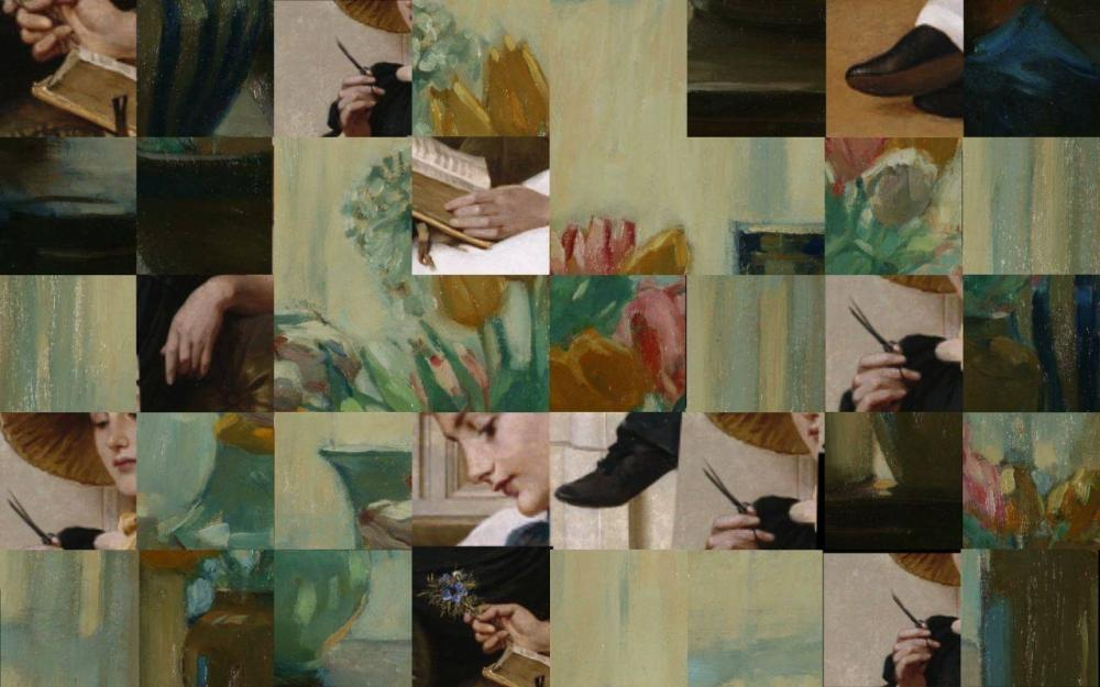 tableau of green and greenish-grey tiles with snippets of bodies and faces