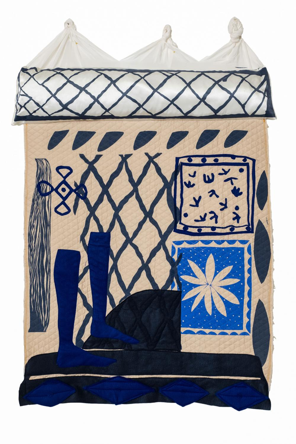 Image of textile print piece from artist Padma Rajendran who guest lectures at the University of Texas at Austin in September 2020