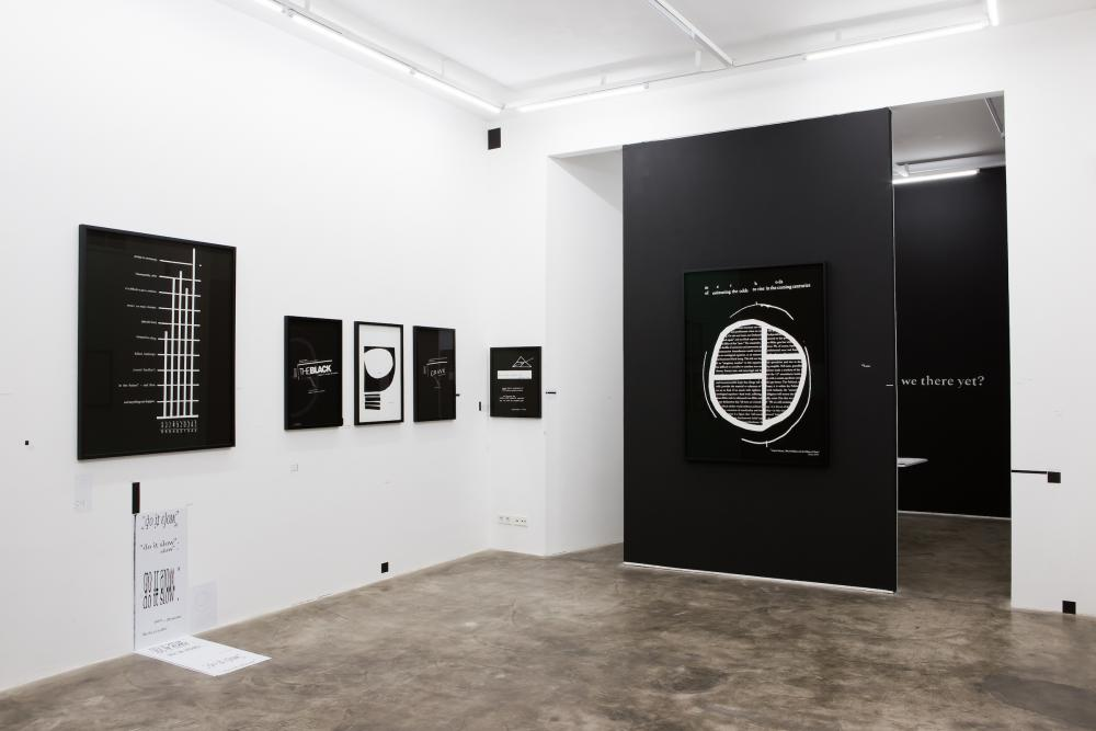 Kameelah Janan Rasheed installation shot of a work entitled A Casual Mathematics at NOME in Berlin in 2019 depicting black and white print and sculpture installation