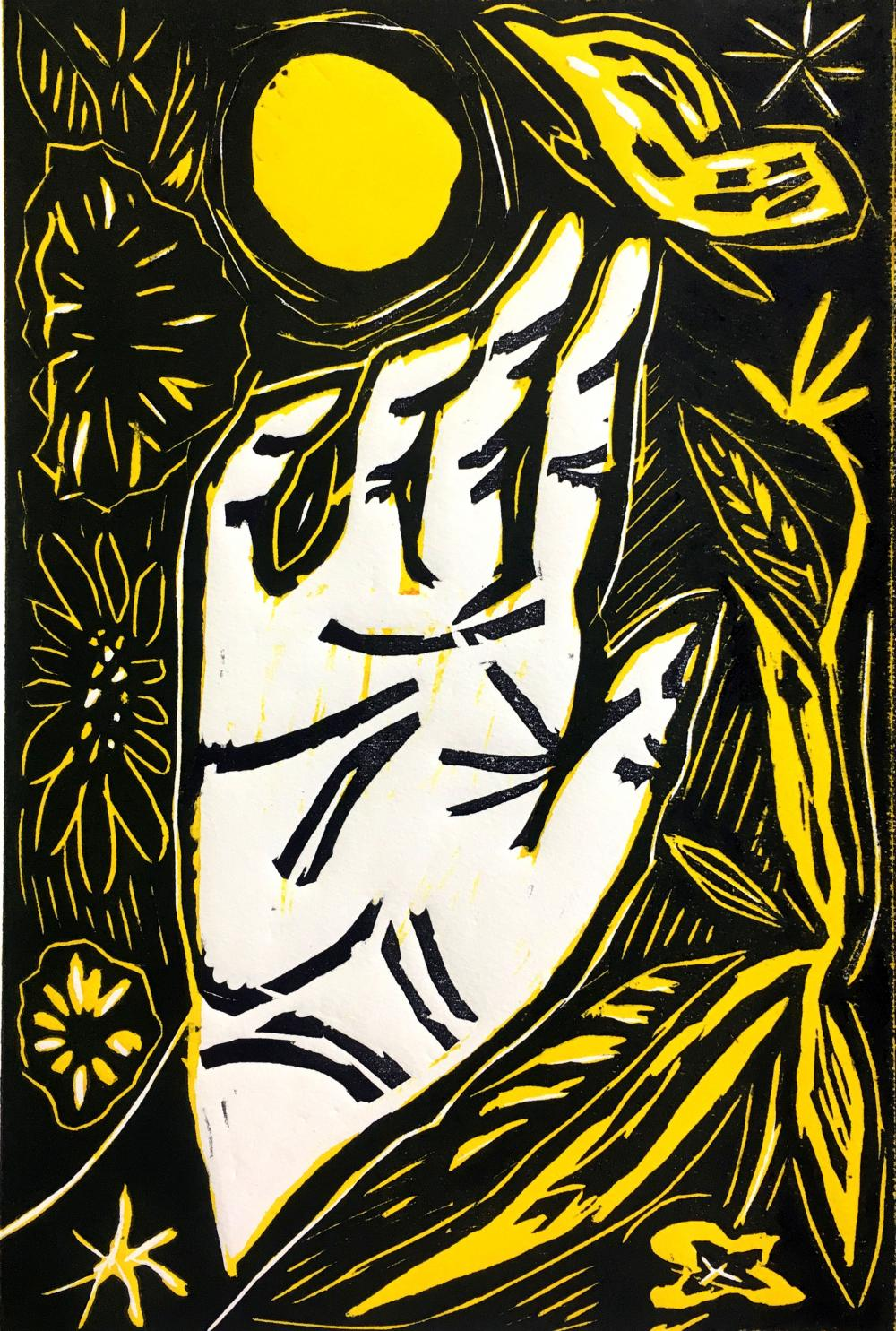 black white and yellow woodcut print from artist Lauren Moya Ford