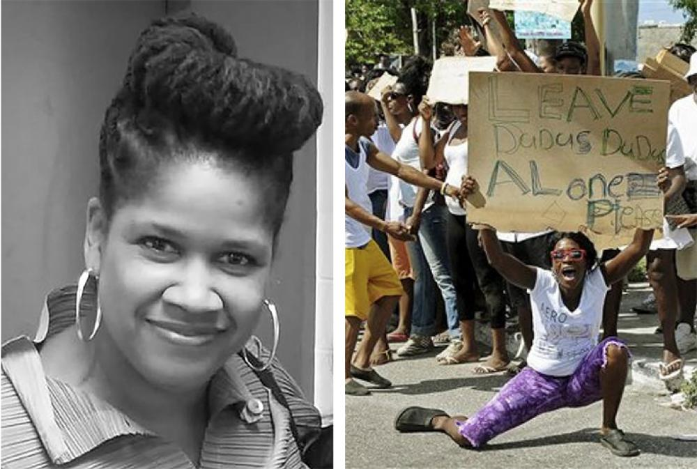 two images side by side on the left a woman with hoop earrings and to the right a protester holding a sign pleading for Dadus Dudus alone