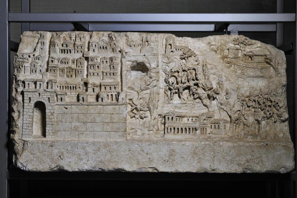 roman tablet depicting a landscape