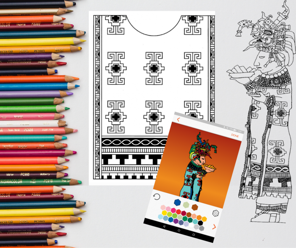 graphic for a workshop depicting maya hieroglyphics and coloring pencils for an international archaeology day workshop with the university of texas at austin mesoamerica center