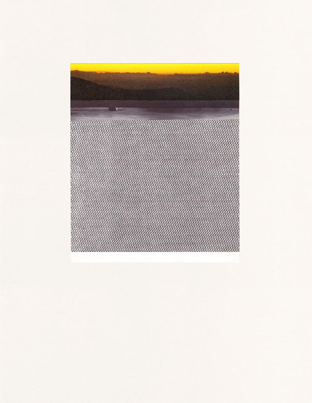 Bethany Johnson We Live on a Planet is illustrated here with a landscape that is created through ink and paper clippings The piece is demonstrating a bright yellow background that is slowly dissolving into a more stark image
