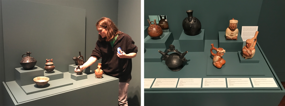 two images one of preparator installing Andean ceramics in exhibit and the right image of newly installed work in gallery exhibit