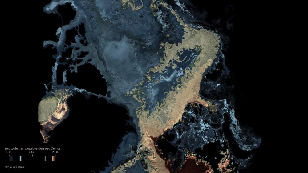 bird's eye view of data visualization of Arctic Ocean