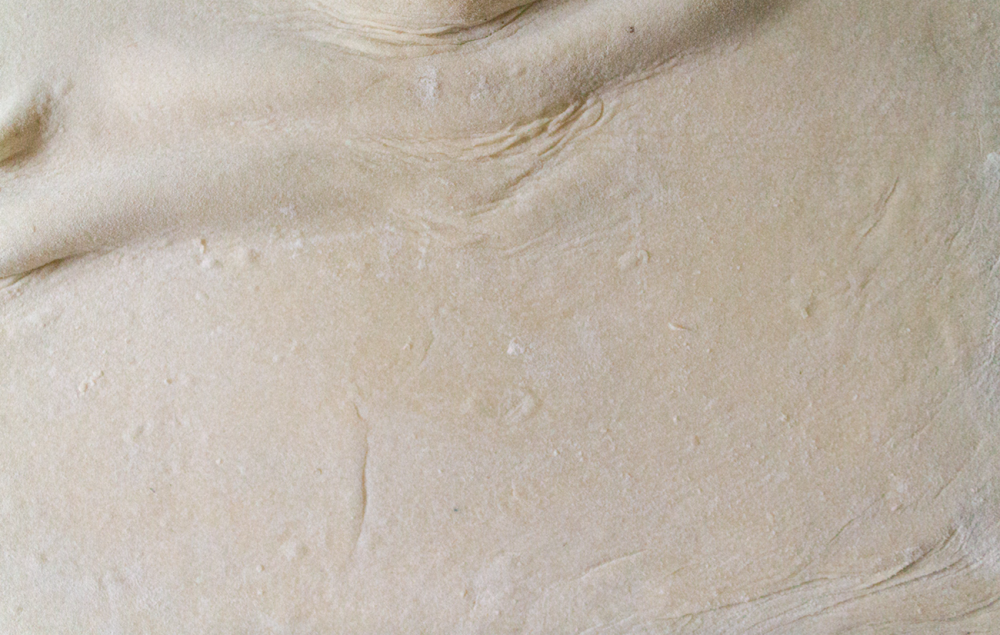 texture of beige dough with spots of flour