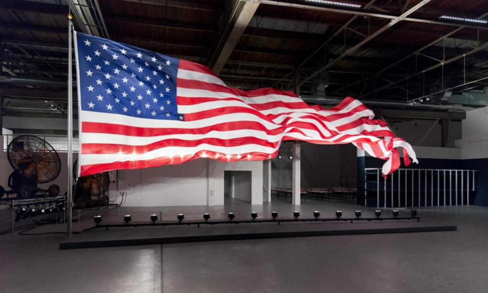 image of a fluttering american flag