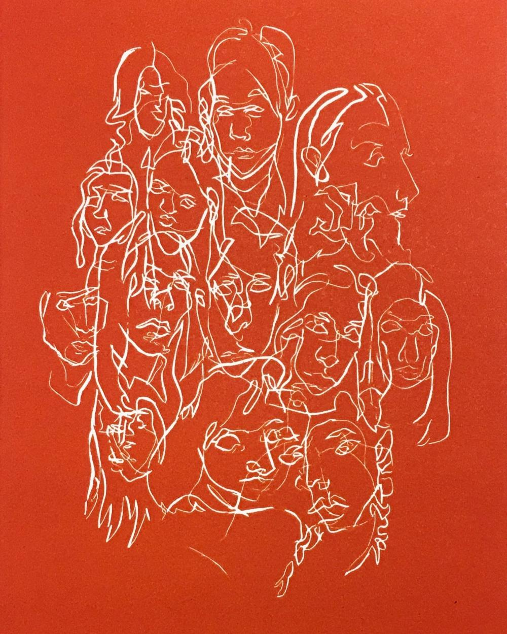 drawn portraits of many people overlapping in white on a red background
