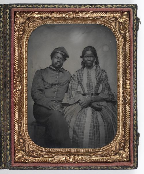 tintype photo of a black married couple