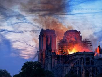 image of notre dame cathedral burning in april 2019