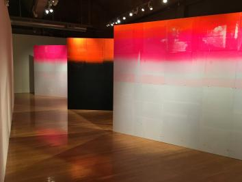 exhibition view of three large scale print walls