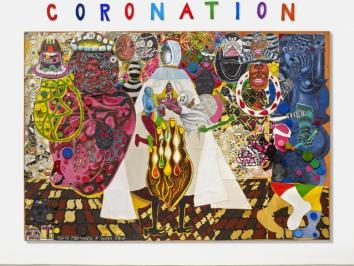 colorful painting depicting a kind of coronation involving many surreal characters