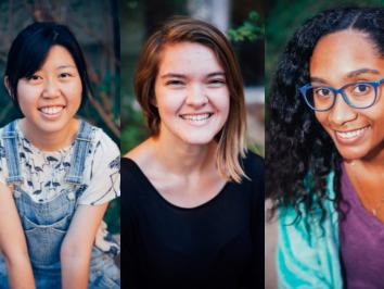 images of three portraits of young women