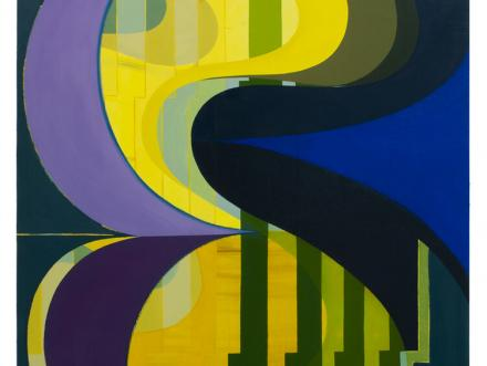Oil painting from UT Austin Print and Painting professor Beverly Acha featuring a purple blue yellow and green color palette that blurs the line between formalism and landscape painting