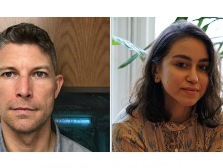 two portraits side by side of Art History Associate Professor and CLAVIS director George Flaherty and PhD student Sheyda A. Khaymaz