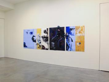 installation image of a set of mixed media paintings