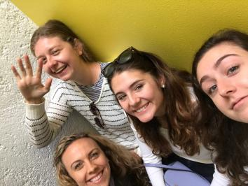 University of Texas at Austin Studio Art BFA alumna Kendall Bradley studying abroad with friends in Mexico City CDMX in faculty led program