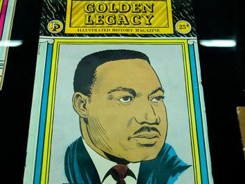 image of Martin Luther King Jr on a cover of a magazine in color illustration from renowned UT art historian Eddie Chambers' collection.