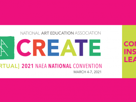 graphic logo for the national art education association in bright pink with secondary colors for text in green orange purple and blues