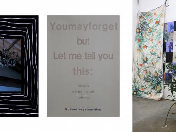 triptych of installation images featuring print works from Print professor Annie May Johnston
