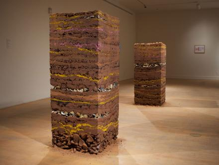 Rectangular stack of clay soil stoneware earthenware and gold created by University of Texas at Austin St Elmo resident and fellow Armando Cortes a Yale graduate and sculptor