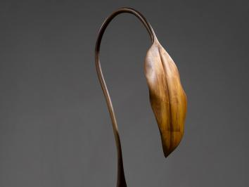 wood sculpture of plant