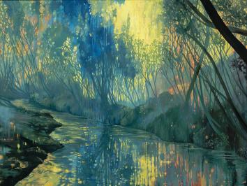 painting full of gestures of blues and greens depicting a landscape