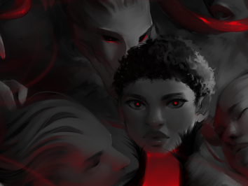 digital print image using black grey and red with one central face surrounded by obscured faces