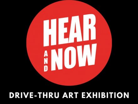 black white and red logo for project titled Here and Now organized by Center Space Project Art and Art History department student organization and TEDxUT