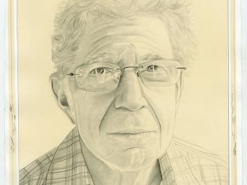 Courtesy of the Brooklyn Rail and artist Phong Bui. A drawn portrait of UT art historian Richard Shiff