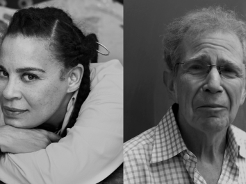 headshot portraits in black and white of artist ellen Gallagher to the left and art historian richard shiff to the right