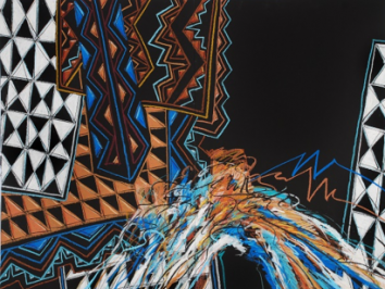 Oil pastel piece from artist Willis Bing Davis who was recently the subject of an essay by University of Texas at Austin professor Moyosore Okediji