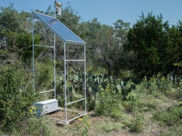 image of a solar panel and speaker used for outdoor sound installation
