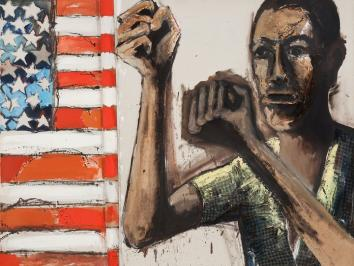 painting depicting flag and african american man with arms raised to face