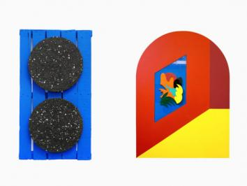 sculpture and painting paired side by side emphasizing texture and colorful palettes