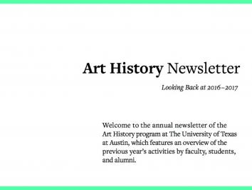 cover image of a PDF document about art history newsletter with green border