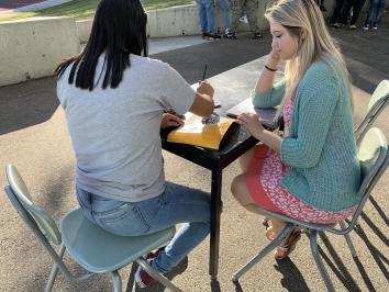 picture of a white woman teaching a student outside on a table