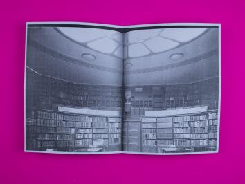 xeroxed book on bright neon pink background