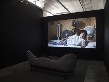 installation view of film of first lady