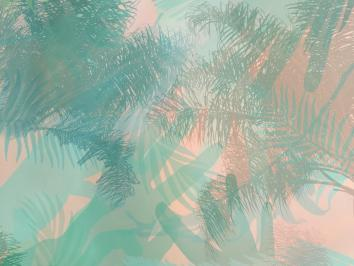 graphic design featuring green hand outlines and green palm fronds backgrounded by pink